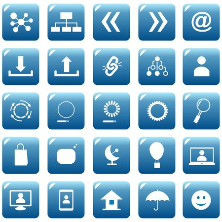 Set web icons or buttons of blue color. Vector graphic illustration.