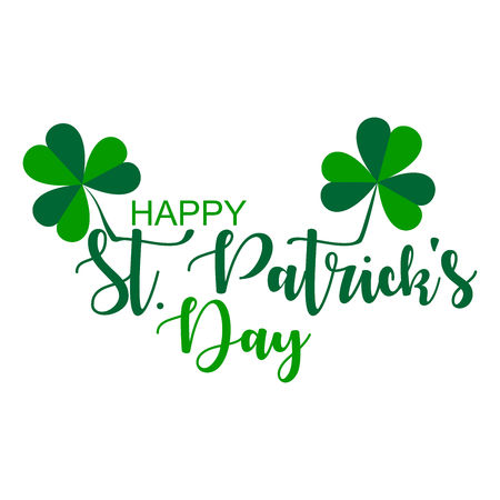 Saint Patrick Day Lettering decoration.  Vector graphic illustration with clover leafs. Illustration