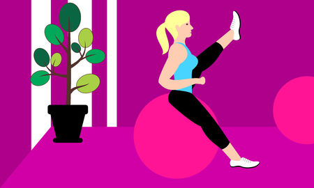 Beautiful young woman doing exercises in a fitness studio. Girl exercising fitness training. People vector illustration.