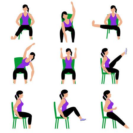 Set van jonge meisjes die oefeningen doen in de sportschool. Mooie vrouw die oefeningen met stoel doet. Volledige kleur platte vectorillustratie. Vector Illustratie