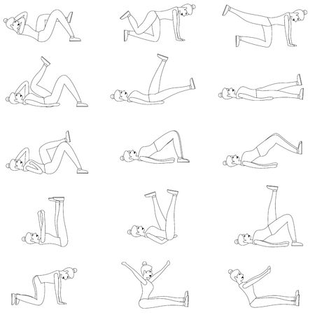 Set of young girls doing exercises in the gym. Arms, legs and butt training for women. Flat vector illustration. Line design.