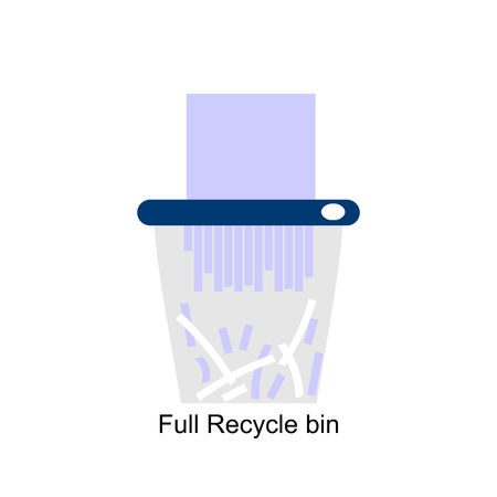 Full Recycle bin for trash and garbage. Vector flat icon for web.