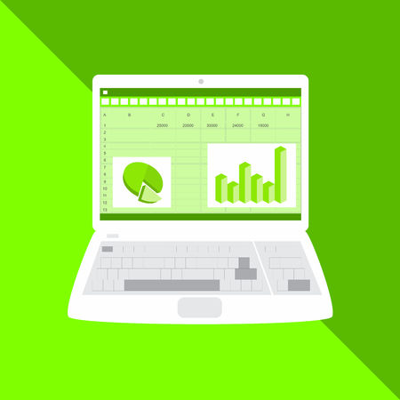Business finance analysis audit with graphs. SEO data analytic and return on investment ROI.  Spreadsheet, charts on screen. Vector graphic illustration. Illustration