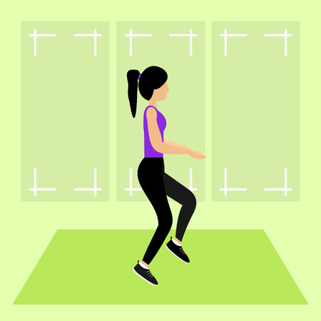 A young girl for a stretching exercise in a gym. Fit young woman in sportswear. Vector graphic illustration.