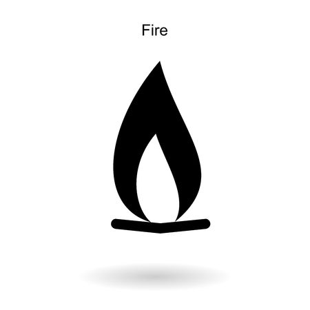 Flat icon with fire sign and  long shadow. Vector graphic illustration.