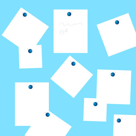 Set of white stickers pinned on the blue background. Vector graphic illustration.