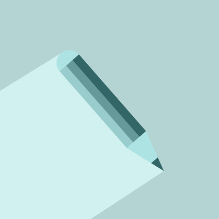 Pencil icon with long shadow. Vector graphic illustration. Flat design.