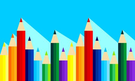 Pattern with rainbow of colored pencils with long shadow. Vector graphic illustration. Flat design.