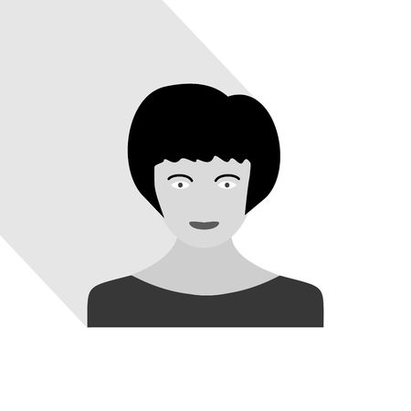 Female portrait with long shadow. Woman head with hairstyle. Grayscale vector graphic illustration.