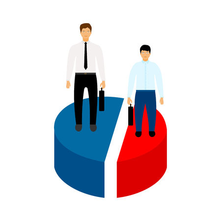 Market share business concept. Businessman with briefcase standing on pie chart. Economic financial share profit. Vector illustration in flat design.