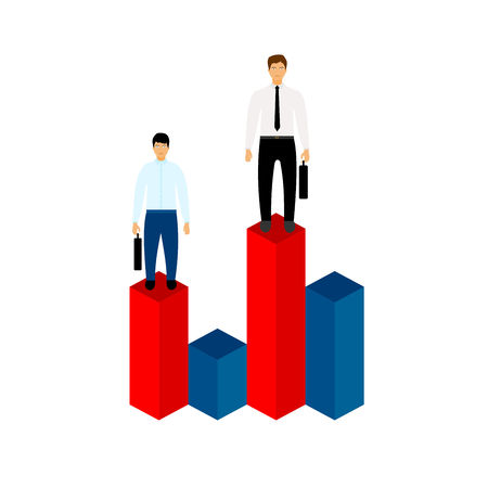 Market share business concept. Businessman with briefcase standing on column chart. Economic financial share profit. Vector illustration in flat design.