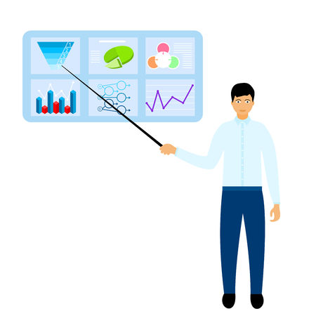 Market share business concept. Businessman showing profit on charts. Economic financial share profit. Vector illustration in flat design.