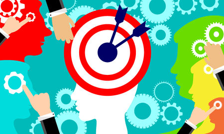 Mind marketing. Goal as think. Strategy target positioning of customer. Vector business concept.
