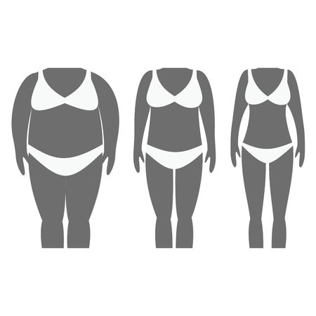 Vector illustration of woman silhouettes with dark skin. Weight loss and tummy tuck plastic surgery in woman. Illustration