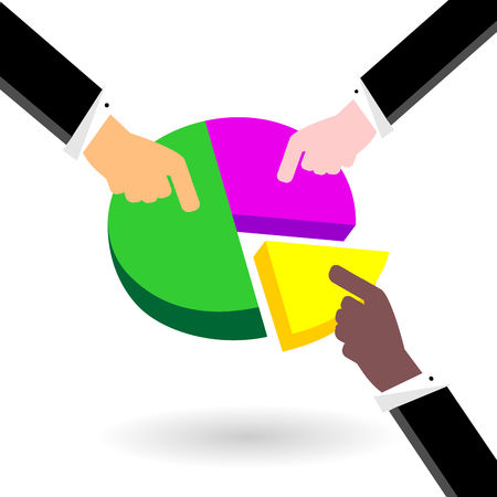 Businessmans hands show their parts of the financial share in profit. Vector color graphic and flat illustration. Illustration