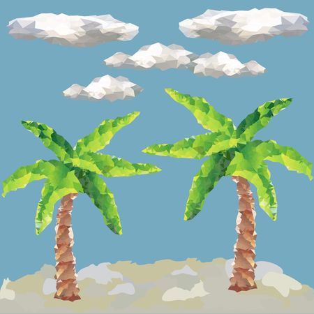 Polygon palm trees. Vector graphic. Beach landscape. Sky and cloud.