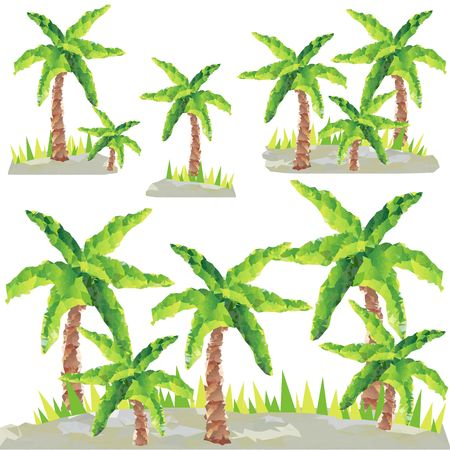 Polygon palm trees Clip Art Vector graphic. Beach landscape
