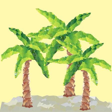 Polygon palm trees. Vector graphic. Beach landscape