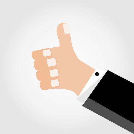 A businessman who points his thumb up or that he likes something. Vector graphic illustration in flat design. Banco de Imagens - 124742978