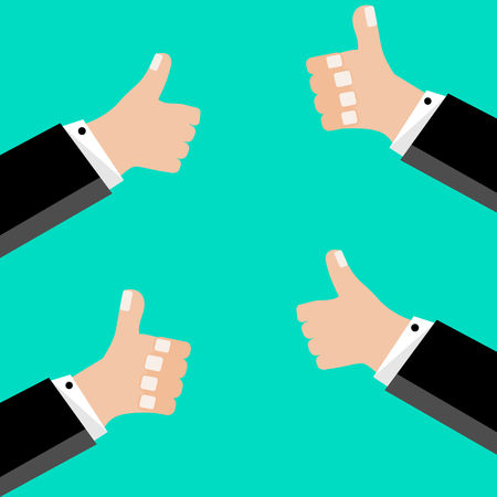 A businessman who points his thumb up or that he likes something. Vector graphic illustration in flat design.