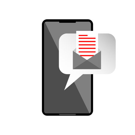 Icon or mail message reminder mailing on mobile phone.  Notification on smartphone for read email. Vector graphic illustration. Illustration
