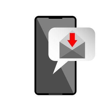 Icon or mail message reminder mailing on mobile phone.  Notification on smartphone for receive email. Vector graphic illustration. Illustration