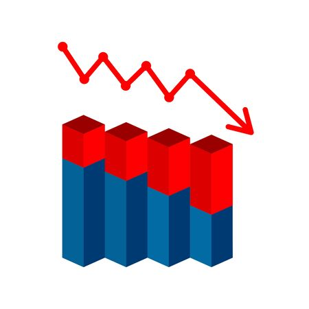Vector drop graph icon with arrow move down. Vector graphic illustration of column chart.