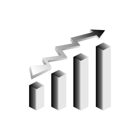 Grey vector growth graph icon with arrow move up. Vector graphic illustration of column chart.