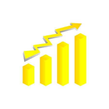 Yellow vector growth graph icon with arrow move up. Vector graphic illustration of column chart.