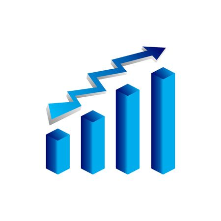 Blue vector growth graph icon with arrow move up. Vector graphic illustration of column chart.