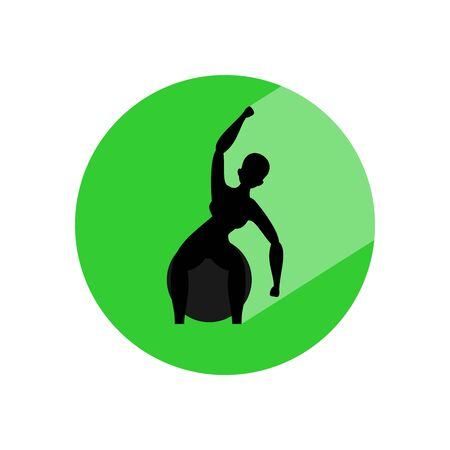 Woman doing exercises with ball. Circle icon with long shadow and flat vector symbol. 矢量图像