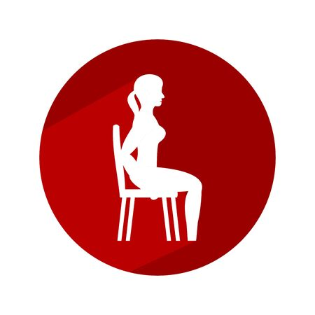 Young woman doing exercises with chair. Circle icon with long shadow and flat vector symbol. Illustration