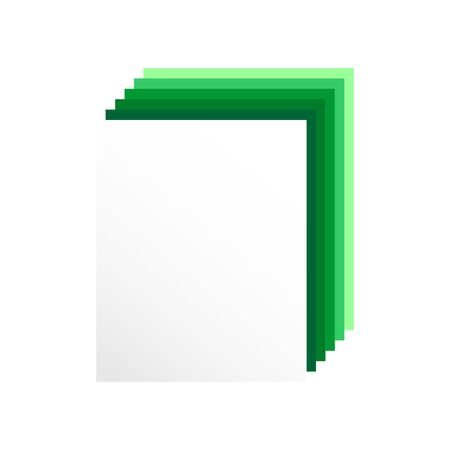 3D  blank sheet of paper with green shadow. Vector graphic illustration  suitable for icon or banner.