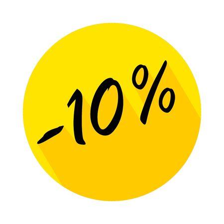 10 % de réduction sur l'icône de cercle avec ombre portée. Badges vectoriels pour étiquettes, autocollants, bannières ou étiquettes de nouvelle offre. Insigne de remise sur fond jaune. Vecteurs