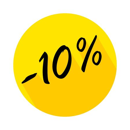 10% off circle icon with long shadow. Vector badges for labels, stickers, banners or tags of new offer. Discount badge in yellow background. Ilustração Vetorial