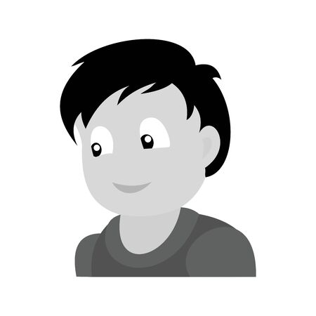 Portrait of happy boy.  Baby boy monochromatic vector illustration. Flat design.