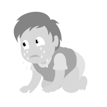 A sad boy crawling and crying. Baby boy monochromatic vector illustration. Flat design.