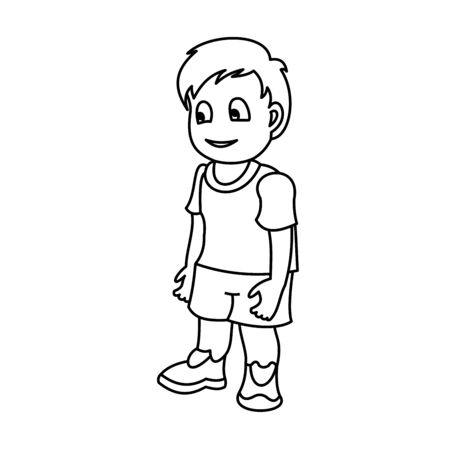 Happy little boy. Vector illustration with continuous lines on white background. 일러스트
