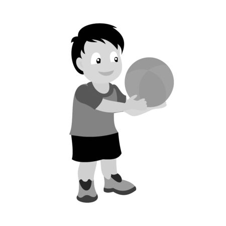 A little boy with a basketball in his hands. Grey scale vector illustration of flat design. Ilustração