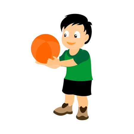 A little boy with a basketball in his hands. Color vector illustration isolated on white background.