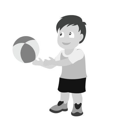 The little boy throws the ball out of his hands. Grey scale vector illustration of flat design.