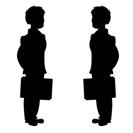 Business peoples with bags in hands. Vector black and white flat illustration.