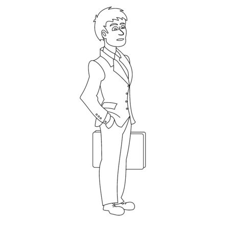 Businessman with bag in hand. Vector illustration with continuous lines on white background. Illusztráció