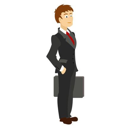 Businessman with bag in hand. Color vector illustration isolated on white background.