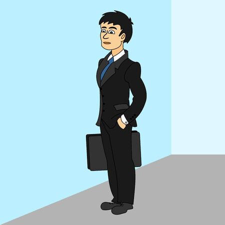 Businessman with bag in hand. Color vector illustration of 3D design.