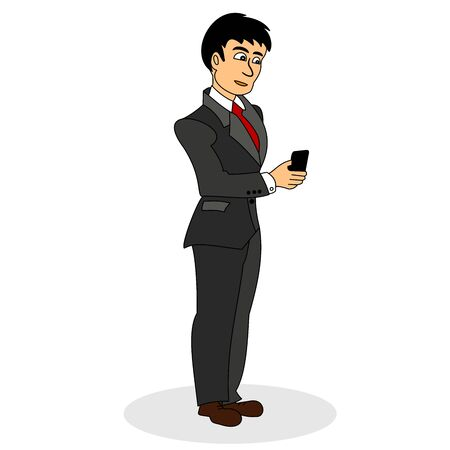 Businessman with smart phone in hand. Color vector illustration isolated on white background.