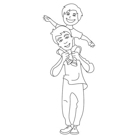 Vector illustration of a little boy sitting on his daddys shoulder. Vector illustration with continuous lines on white background.