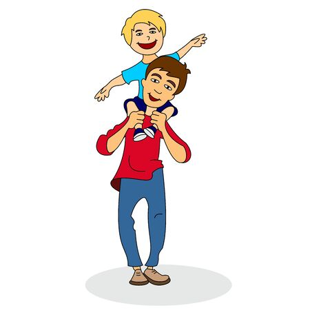 Vector illustration of a little boy sitting on his daddys shoulder. Color vector illustration isolated on white background.  イラスト・ベクター素材