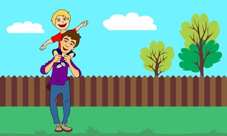 Vector illustration of a little boy sitting on his daddys shoulder on nature background. Template  or greeting card for Happy Fathers Day.
