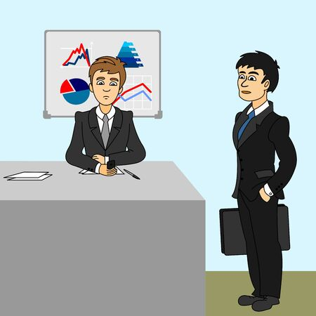 Two businessmen in the office. One sits at a desk and makes a phone call and the other standing by the table with a business bag. Color vector illustration for working and management. Illustration